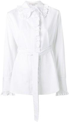 Stella McCartney ruffle trim pinstripe shirt