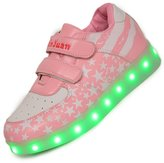 Topteck 7 Colors Toddler Little Kid Boy Girl LED Light Up Sneakers Lumious PU Leather Casual Shoes