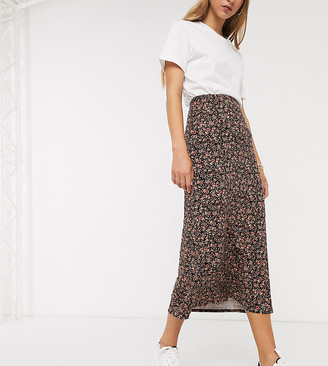 New Look Tall midi skirt in black floral