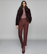 Reiss Belle - Reversible Shearling Jacket in Berry