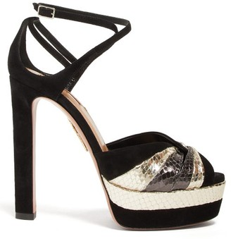 Aquazzura La Di Da 130 Metallic-leather And Suede Sandals - Black Silver