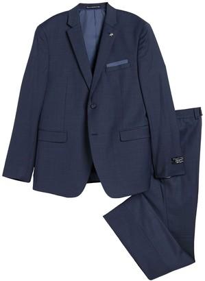 Original Penguin Blue Solid Two Button Notch Lapel Wool Blend Suit