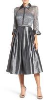 Eliza J Mixed Media Fit & Flare Dress