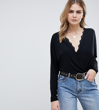 Asos DESIGN Tall batwing wrap body with lace trim