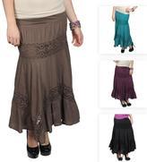 Journee Collection Junior's Crochet Detail Tiered Maxi Skirt