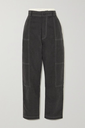 Jacquemus Felix Layered High-rise Tapered Jeans - Dark gray