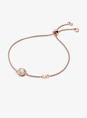 Michael Kors Precious Metal-Plated Sterling Silver Pave Halo Slider Bracelet