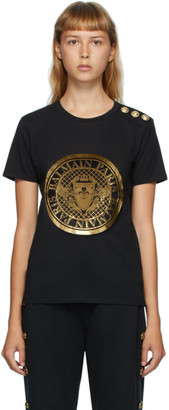 Balmain Black 3-Button Coin T-Shirt