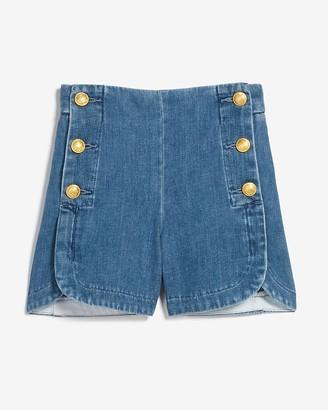 Express High Waisted Sailor Button Jean Shorts