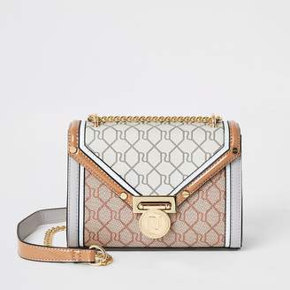 River Island Grey RI monogram mini cross body bag