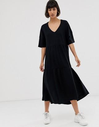 Selected slub tiered midi sundress-Black
