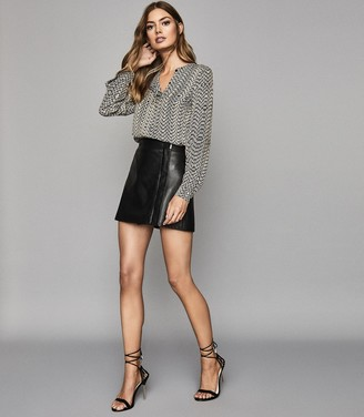 Reiss Maxwell - Leather Wrap Front Mini Skirt in Black