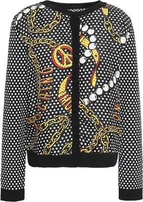 Moschino Printed Silk-twill And Wool Cardigan