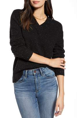 Treasure & Bond Cozy Nep Flecked V-Neck Sweater