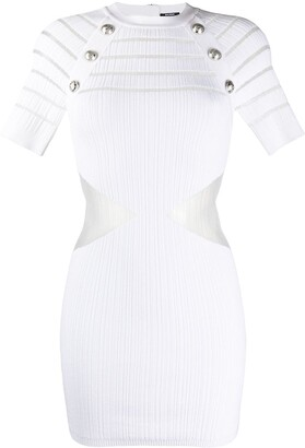 Balmain Sheer Panel Knitted Bodycon Dress