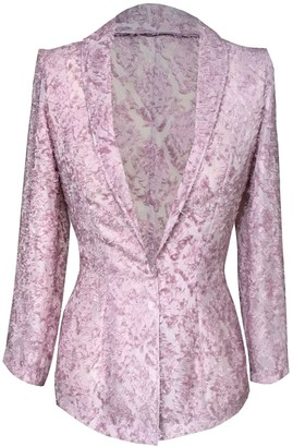 Delayne Dixon Sheer Ostrich Feather Embellished Blazer
