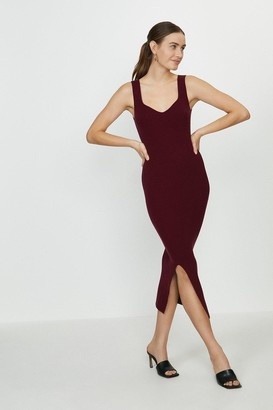 Coast Sweetheart Neck Knitted Rib Midi Dress