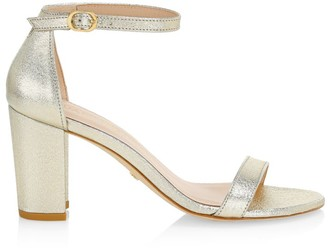 Stuart Weitzman Nearlynude Block-Heel Metallic Leather Sandals
