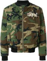 Amen camouflage padded bomber jacket
