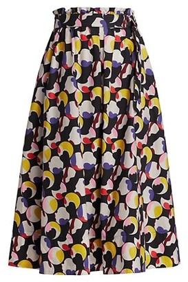 Akris Punto Floating Dot Printed Poplin Midi Skirt