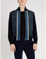 Salvatore Ferragamo Colour-blocked wool and suede jacket