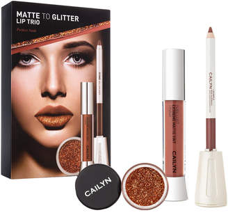 Cailyn Cosmetics Nude Matte To Glitter Lip Trio: Matte Tint Gloss, Lipliner, Glitter