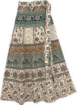 "TLB - Spanish Ethnic Tan Wrap Around Skirt - L:33""; W:22""-34"""