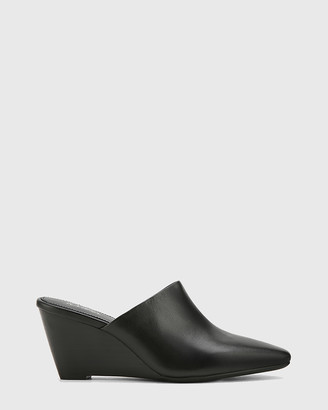 Wittner - Women's Black Heels - Polina Leather Snib Toe Wedge Mules - Size One Size, 39 at The Iconic