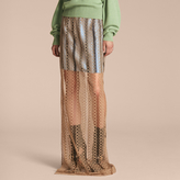 Burberry Braided Tulle Column Skirt with Striped Lining
