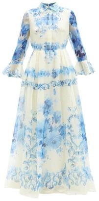 Valentino Delft-print Silk-organdy Gown - Blue White