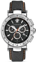 Versace Mystique Sport Chronograph Stainless Steel Round Watch with Black Guilloche Dial, 43.5mm