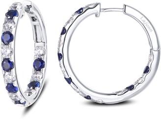 Lafonn Inside Out Simulated Diamond & Sapphire Hoop Earrings