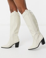 Asos Design DESIGN Catch Up western pull on knee boots in off white