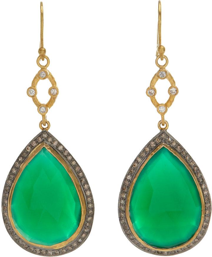 Sara Weinstock Green Agate & Diamond Pear-Shaped Drop Earrings