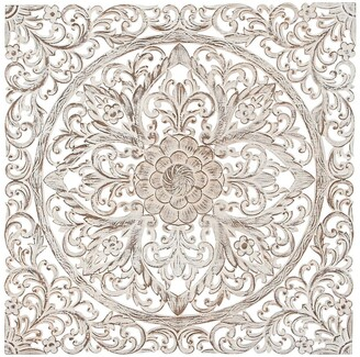 Willow Row Brown Traditional Carved Floral Wood Wall Panel