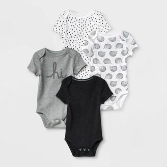 Baby 4pk Short Sleeve Bodysuit - Cloud IslandTM Black/White
