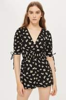 Topshop Shirred waist floral print playsuit