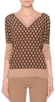 Agnona Dolman-Sleeve Printed-Front Top, Camel/Multi
