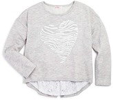 Design History Girls' Tiger Stripe Heart Pullover - Sizes S-XL
