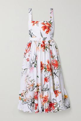 Alexander McQueen Floral-print Cotton-poplin Midi Dress - Ivory