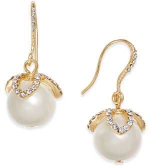 Charter Club Gold-Tone Imitation Pearl & Pave Drop Earrings, Created for Macy's