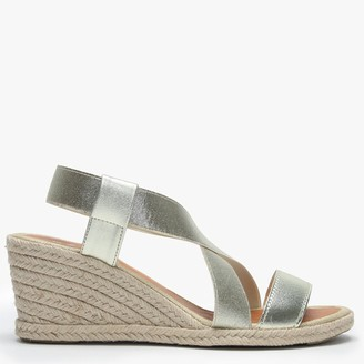 Daniel Coopster Gold Elasticated Strap Wedge Sandals