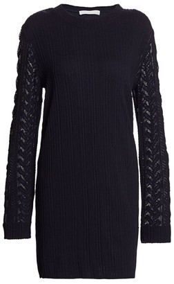 See by Chloe Plisse Jersey Mesh Cable Knit-Trim Sweater Dress