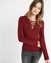 Express strappy long sleeve v neck tee
