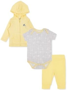 art & eden Earth by Baby Boys 3-Pc. Organic Cotton Striped Hoodie, Plane-Print Bodysuit & Leggings Set