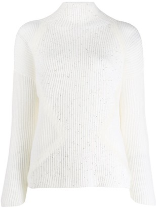 Lorena Antoniazzi Sequin Embellished Ribbed Knit Sweater