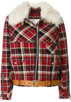 Rag & Bone shearling collar check jacket