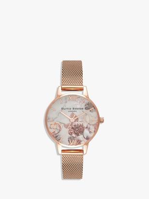 Olivia Burton OB16CS06 Women's Marble Florals Mesh Bracelet Strap Watch, Rose Gold/Multi