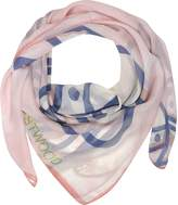 Vivienne Westwood Light Pink & Navy Blue Foul Flash Orbs Print Silk Wrap