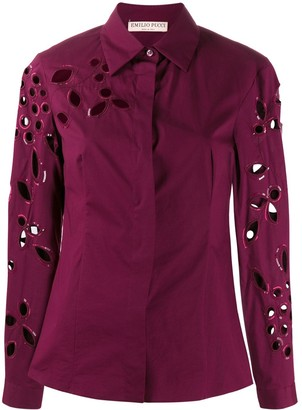 Emilio Pucci sequin trimmed cut-out blouse